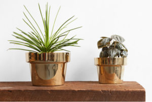 Trendy polished brass planters home decor