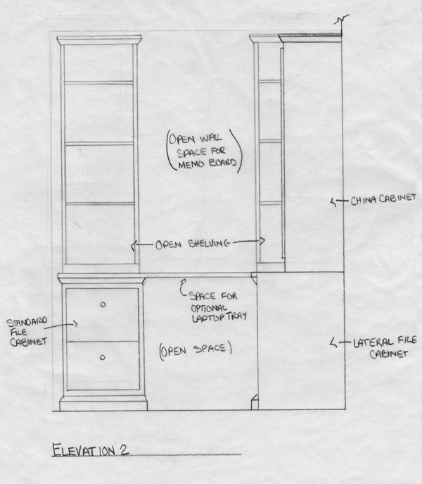 Contemporary custom designed home office and China cabinet built-in elevation 2