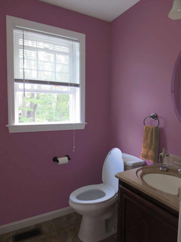 virtual interior design accessorizing powder room after view 1 plum dandy paint Bridgewater Massachusetts