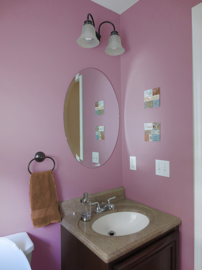virtual interior design accessorizing powder room after view 2 plum dandy paint Bridgewater Massachusetts