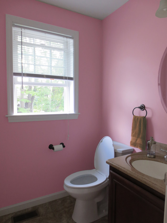 virtual interior design accessorizing powder room after view 1 moss rose paint Bridgewater Massachusetts
