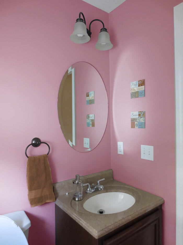 virtual interior design accessorizing powder room after view 2 moss rose paint Bridgewater Massachusetts