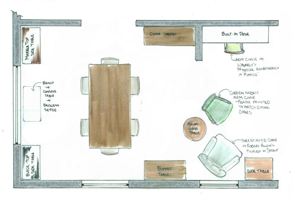 Furniture space plan for dining room of traditional style home New Bedford Massachusetts option 1