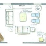 Furniture space plan for sitting room of traditional style home New Bedford Massachusetts option 1