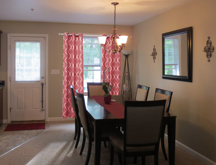 virtual interior design accessorizing dining room after Bridgewater Massachusetts