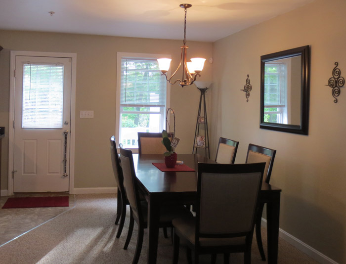 virtual interior design accessorizing dining room before Bridgewater Massachusetts