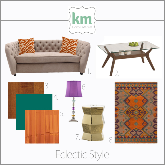 Interior design style guide concept board eclectic furniture and materials