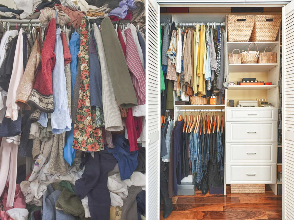 Messy closet versus organized closet tips for hiring a professional organizer