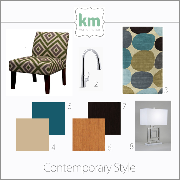 Style Guide Mood Board showing examples of funiture, finishes, colors, and patterns used in contemporary interior design style