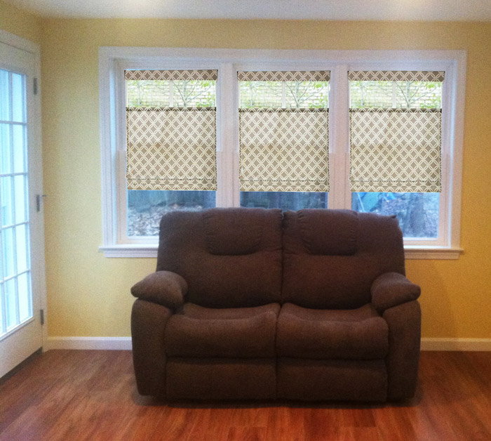 Fabric roman shade picture of custom window treatment project in Nashua New Hampshire