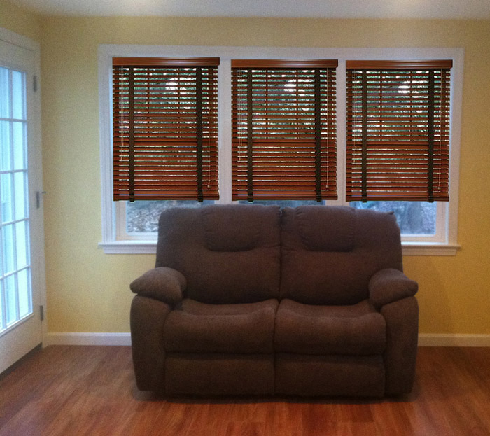 Wood blinds picture of custom window treatment project in Nashua New Hampshire