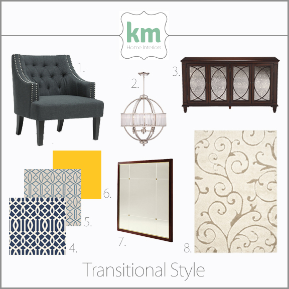 Concept board for interior design Transitional style