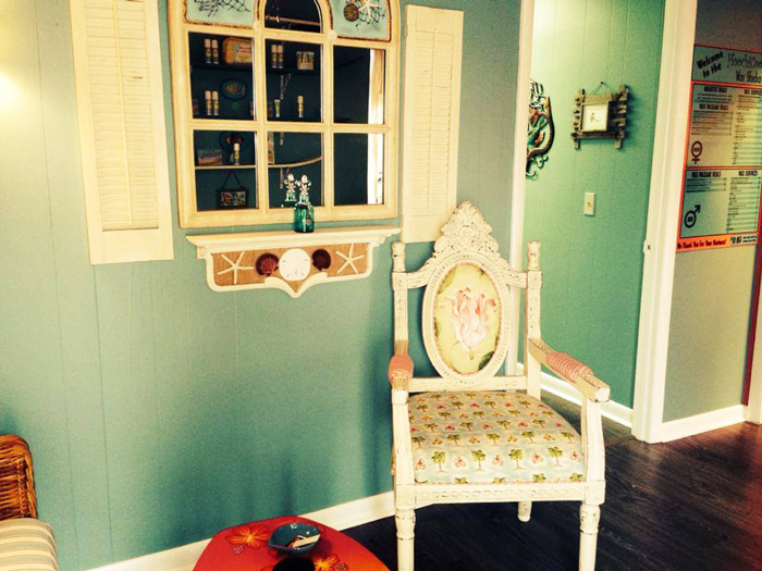 View 3 of Key West style waiting area of Hoochi Koochi wax studio in Lantana Florida