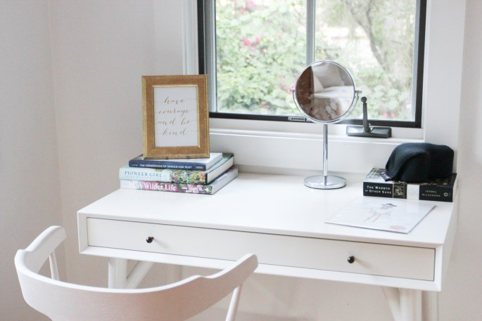 white office and desk in hygge house style