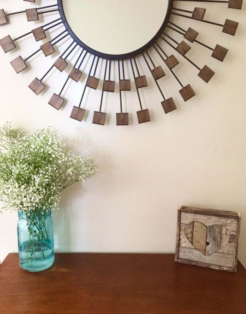 Hygge style simple moment flowers mirror artwork