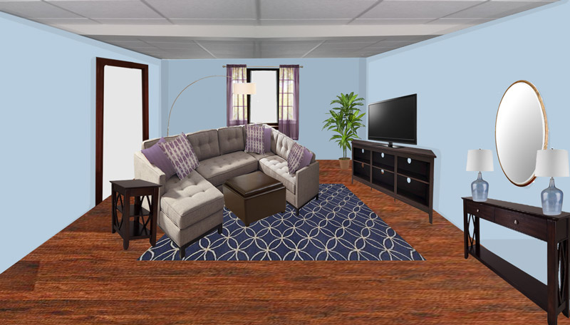 room perspective 2 of contemporary virtual redesign finished basement in swansea massachusetts