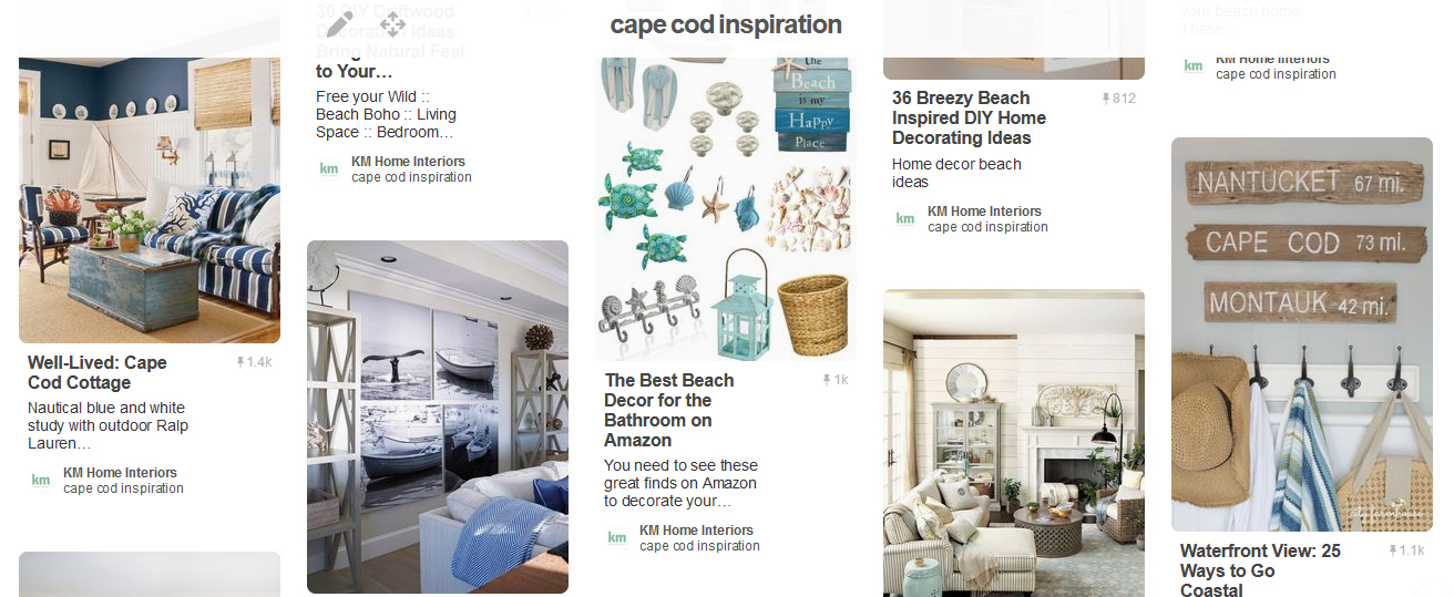 Defining interior design terms sample of a vision board inspired by Cape Cod
