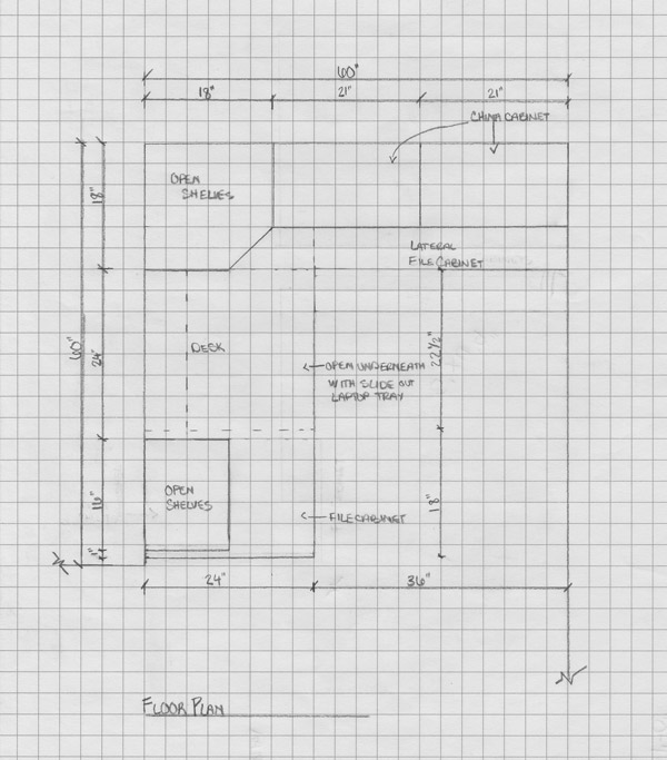 Contemporary custom designed home office and China cabinet built-in floor plan