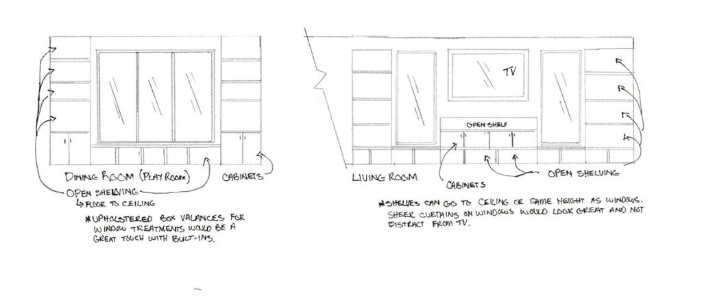Elevations of custom designed built in storage and seating Easton Massachusetts