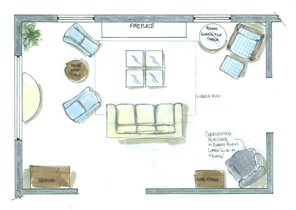 Furniture space plan for sitting room of traditional style home New Bedford Massachusetts option 2