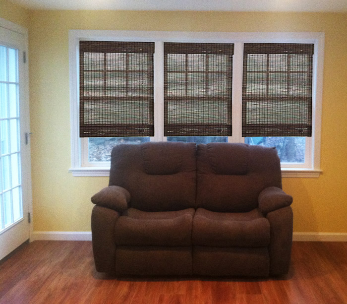 Woven bamboo shade picture of custom window treatment project in Nashua New Hampshire
