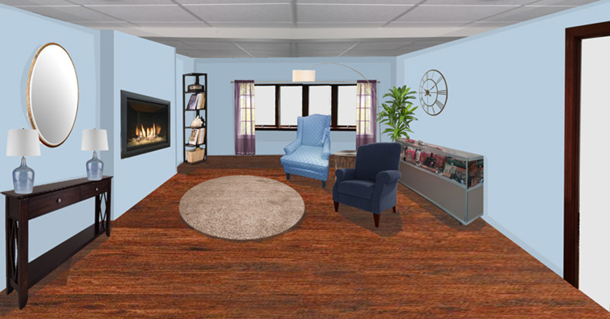 room perspective 1 of contemporary virtual redesign finished basement in swansea massachusetts